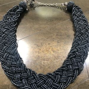 Black/silver beaded necklace